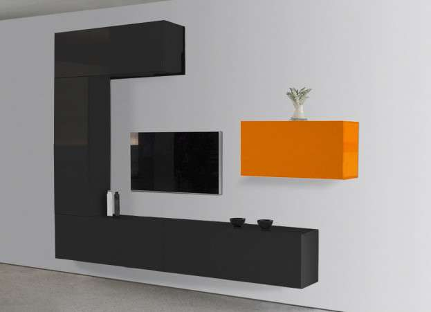 meuble tv design laqu blanc et orange romance. Black Bedroom Furniture Sets. Home Design Ideas