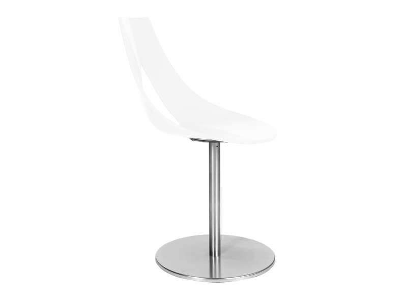 Chaise design pied central chromé Blanc RUBANN I