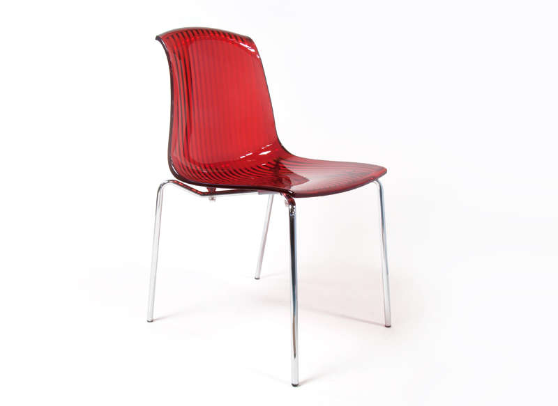 Chaise en polycarbonate transparent Rouge ALLEGRA