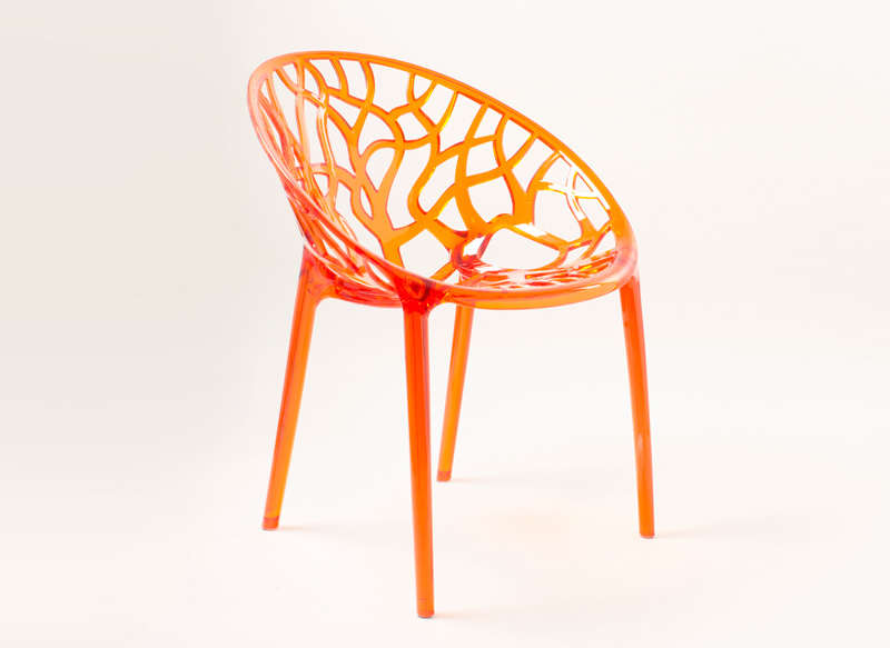 Chaise design en plastique Orange CRYSTAL