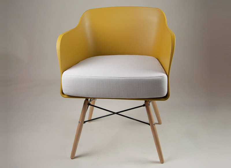 Chaise scandinave avec coussin Jaune ALWA