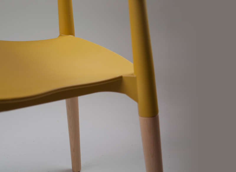Chaise design rétro Jaune COPENHAGUE CHAISE