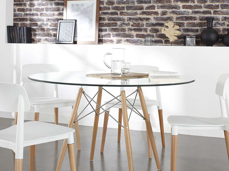 Table ronde en verre siri achatdesign - Table de cuisine ronde en verre pied central ...