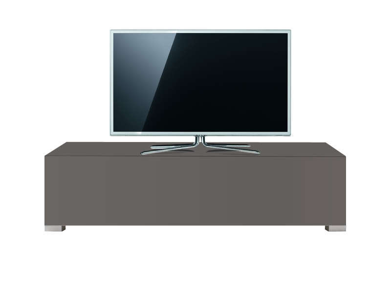 Banc tv 120 cm laqu gris design standard s achatdesign - Meuble tv taupe design ...