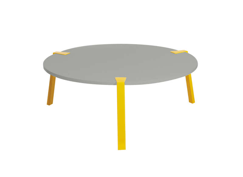 Table basse ronde jaune et grise dona achatdesign - Table salon ronde ...