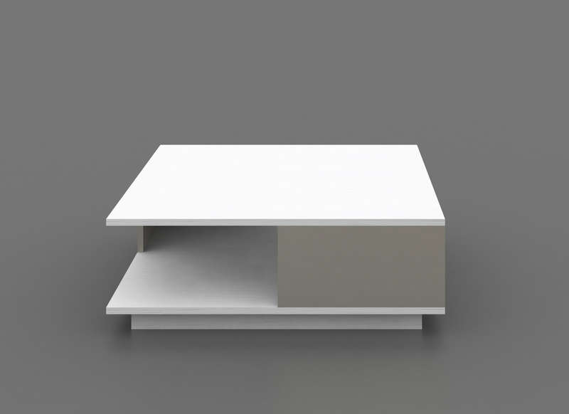 Table basse blanche et grise contemporaine galia for Table basse bois gris clair