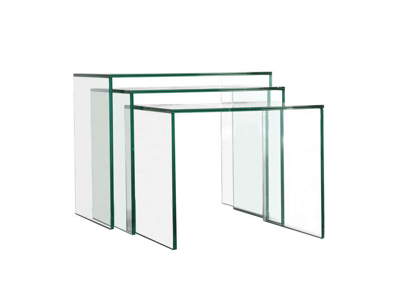 Table basse gigogne en verre 3 en 1 lasi achatdesign for Table gigogne en verre