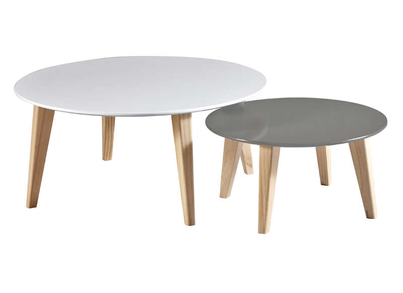 Table basse gigogne rondo - Table grise et blanche ...