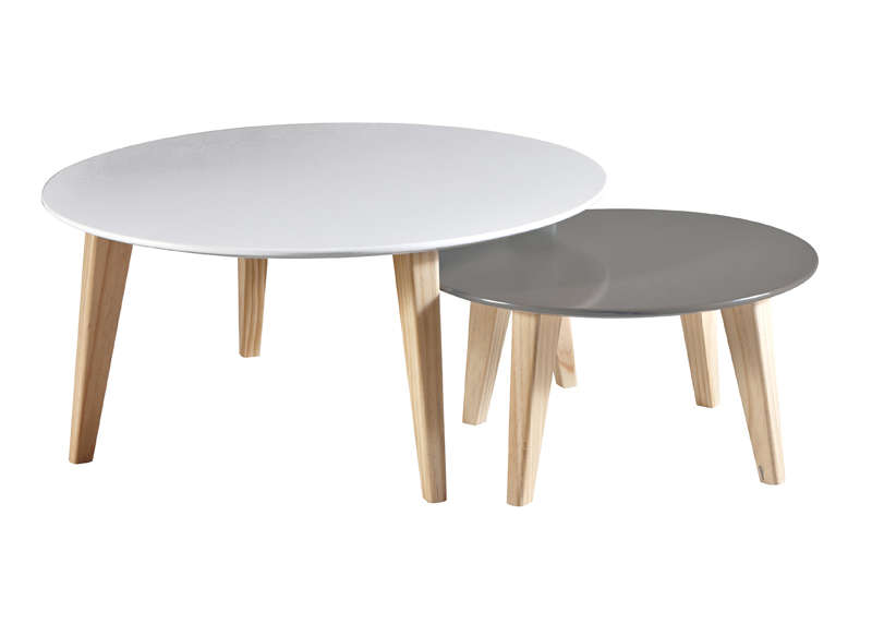Table basse gigogne rondo - Table gigogne blanche ...