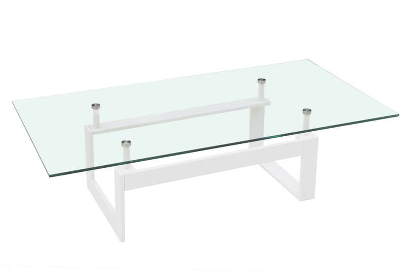 Table basse en verre blanc glas