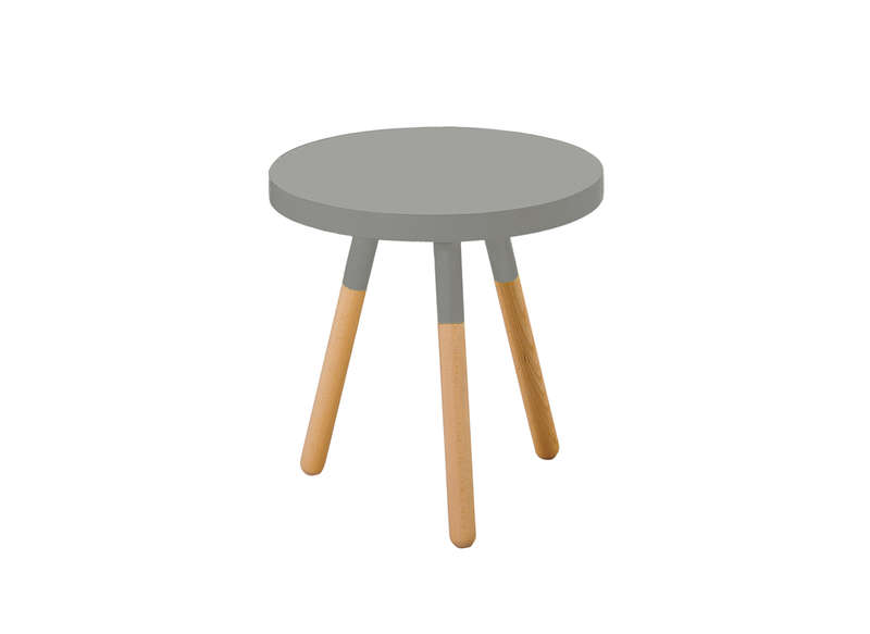 Table basse ronde grise pied bois inge achatdesign for Table basse bois gris clair