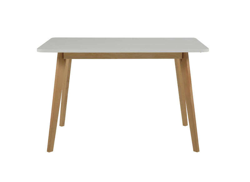 Table blanche pieds en bois achatdesign for Table rectangulaire bois avec allonges