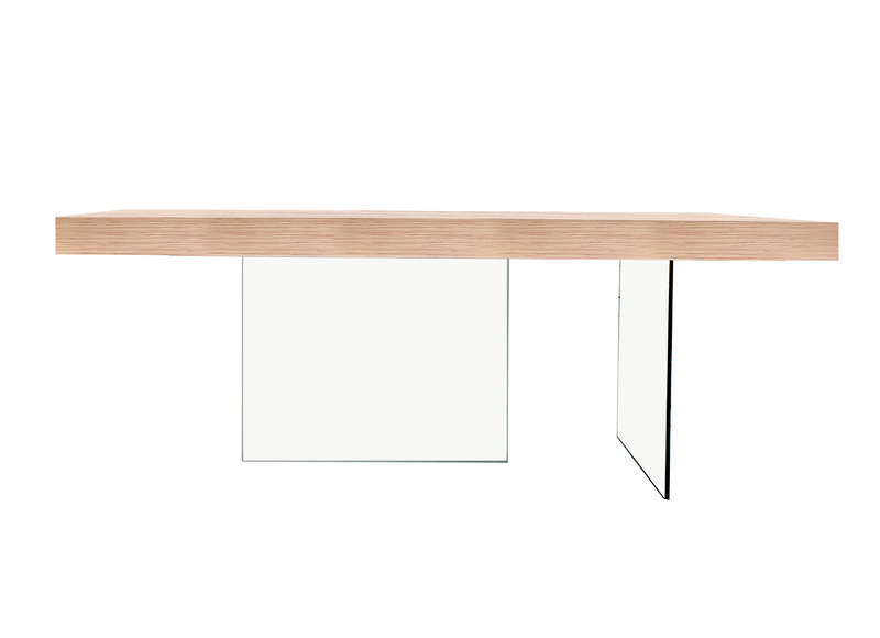Table rectangulaire en bois et verre infinity achatdesign - Table rectangulaire en verre ...