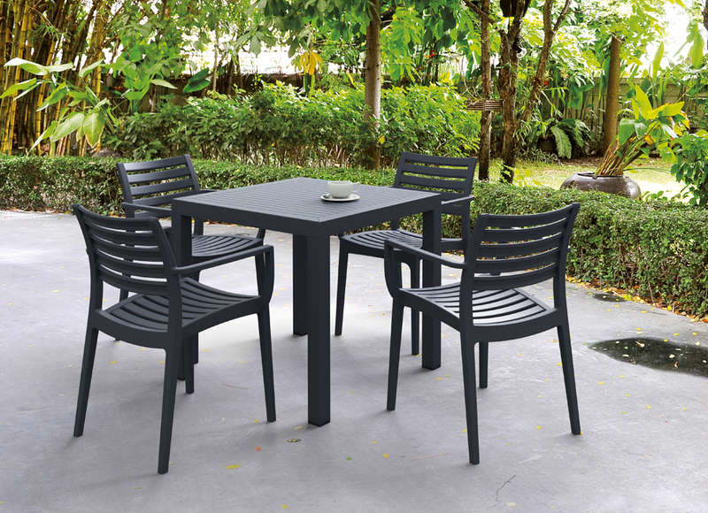 Table de jardin carr e design gris fonc ares for Table exterieur 3 metres