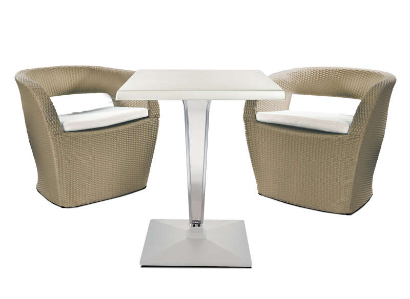 Table de jardin pour 2 personnes blanc claris for Table 30 personnes