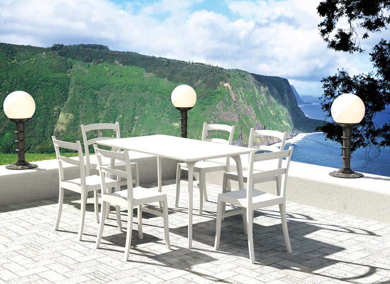 Table jardin rectangulaire Blanc MOYA-T