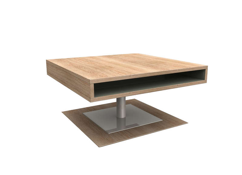 Table basse carree pied central bois pia - Table carree bois metal ...