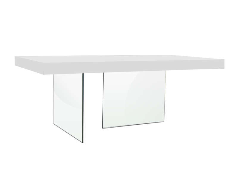 Table pied verre laquée blanche Blanc INFINITY LAQUEE