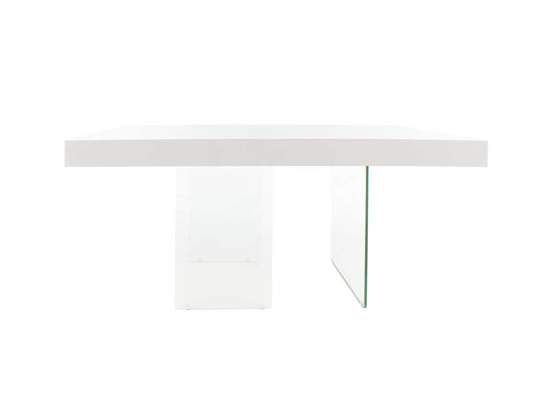 Table carr e laqu e blanche blanc infinity carree laquee - Table carree blanche laquee ...