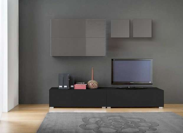 Ensemble tv mural design laqu tango achatdesign for Meuble tv gris fonce