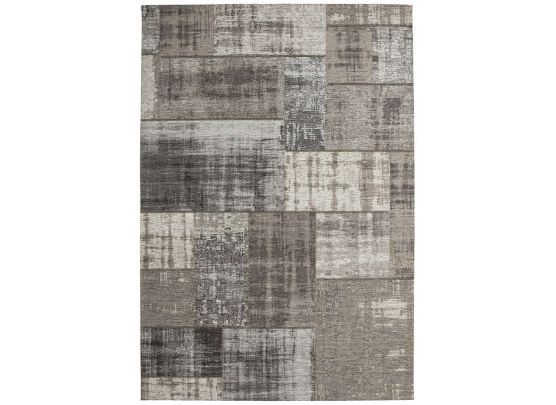 Grand tapis design patchwork gris clair Grand tapis clair