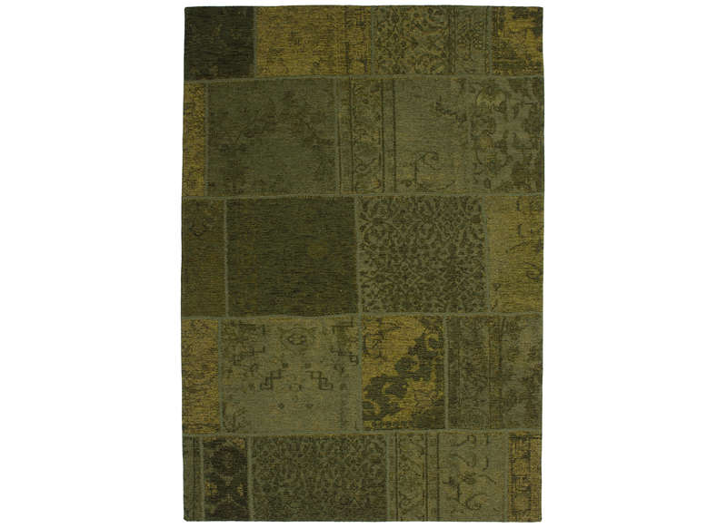 Grand tapis design patchwork gris clair