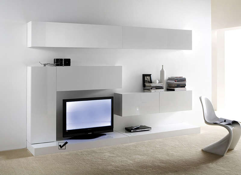 meuble support tv laqu blanc slim l. Black Bedroom Furniture Sets. Home Design Ideas