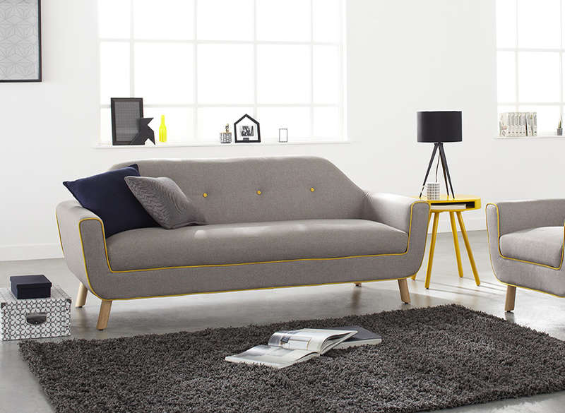 Canap 3 places en tissu gris et jaune copenhague achatdesign - Canape 3 places gris ...