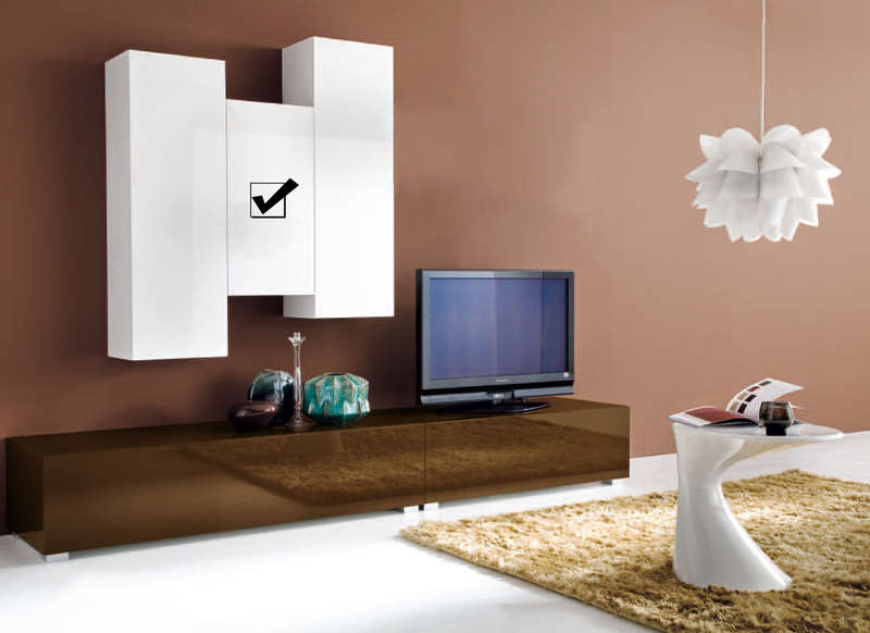 Meuble tv suspendu design laqu vertical s achatdesign - Meuble tv suspendu design ...
