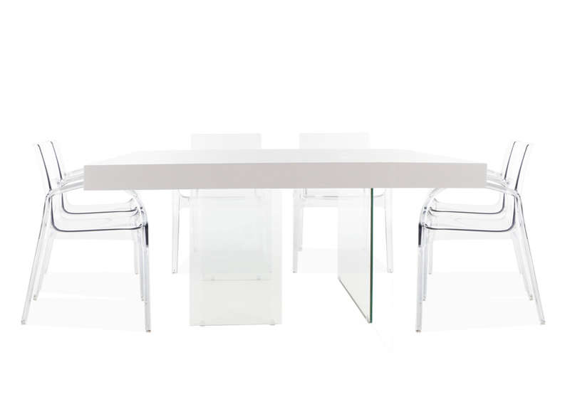 Table carr e laqu e blanche blanc infinity carree laquee - Table carree extensible blanche ...