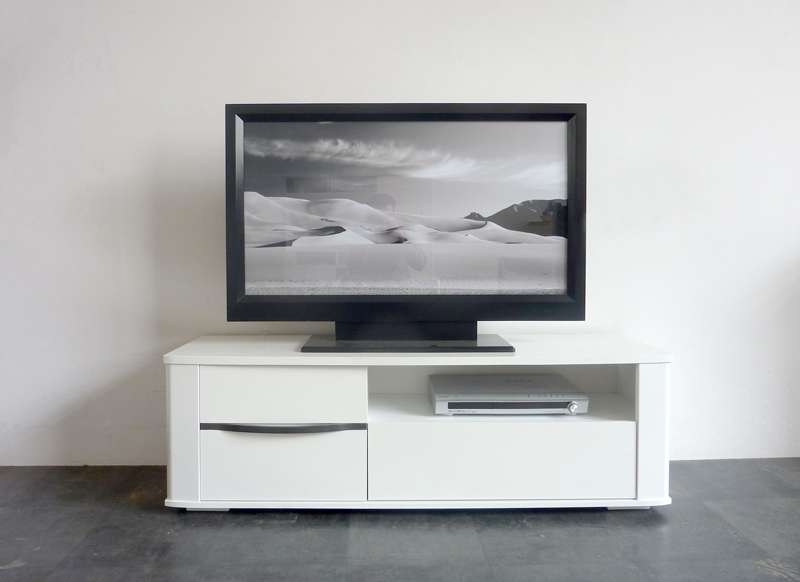 Meuble tv blanc laqu for Achatdesign meuble tv
