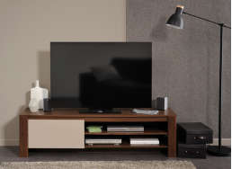 Meuble TV hifi video contemporain Noyer Salvador