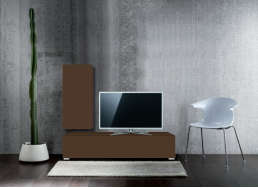 Ensemble TV design pas cher Marron ATLANTIS