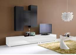 Ensemble tv mural design Blanc ELEGANCE