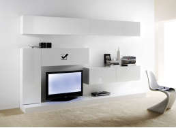 Meuble tv mural Blanc Horizontal down M