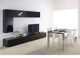 Meuble tv mural design Noir Horizontal up S