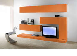 Ensemble tv mural laqué design Orange PURETE
