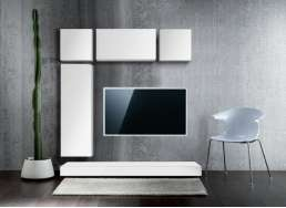 Ensemble tv mural design Blanc RIVER