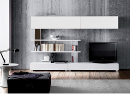 Ensemble tv mural blanc Blanc SCAND