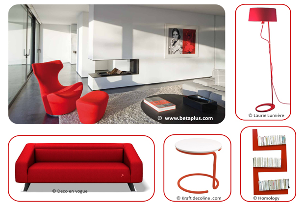 Un salon rouge design autour du lampdaire Bolight