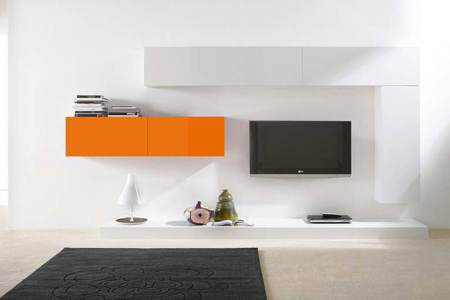 City ensemble TV design blanc et orange