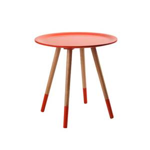 Table basse ronde en bos rouge oranger Tania