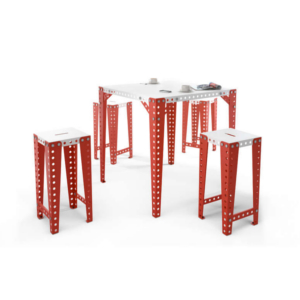 table haute industriel metal blanc rouge achat design meccano