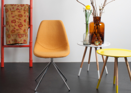chaise table pop retro jaune safran achat design