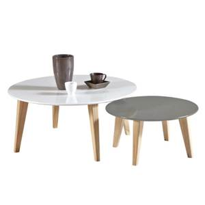 Table basse gigogne gris clair