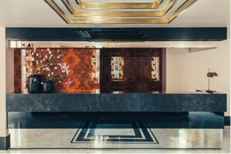 lobby hotel design marbre graphique DIMORESTUDIO HOTELSAINTMARC credit photo PhilippeServent